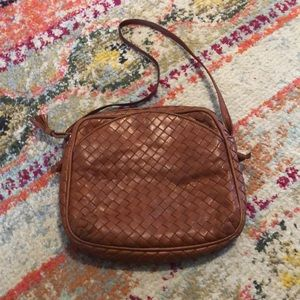 Bottega Veneta cognac intrecciato purse bag